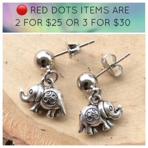 🔴SALE ! elephant om sign steel post earrings